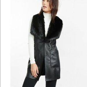 Express Black Faux Fur Vest Coat